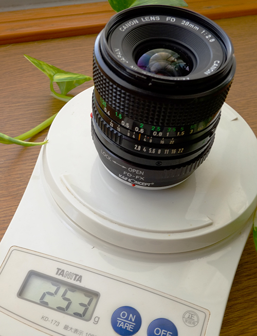 K&F CONCEPT FD-FXマウント・アダプター+NewFD28mm f2.8/重さ