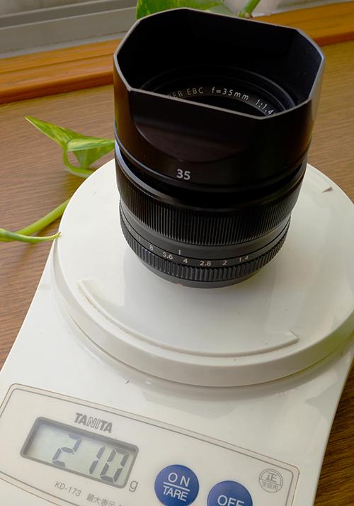 XF35mmF1.4+フード/重さ