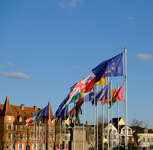 アルザスコルマール/1日目/夕方/公園EU各国旗