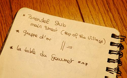 マルセル・ダイスのスタッフが書いてくれたレストラン名メモ
