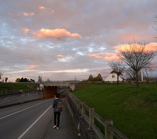 エギスハイムからコルマールに向かう途中の道路を潜るところ