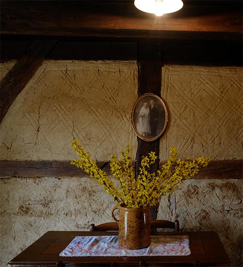 エコミュゼ/塔の中の部屋の壁の写真と花