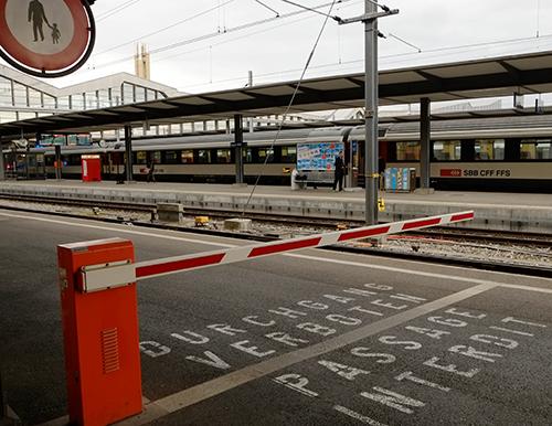 バーゼル駅/ホームの国境遮断機