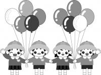 モノクロ_風船と園児