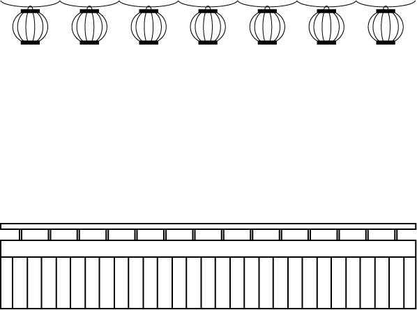夕涼み会の飾り枠_線画