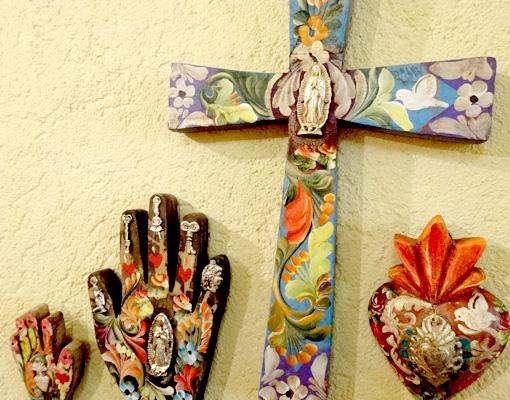 メキシコのアンティーク調ミラグロ十字架