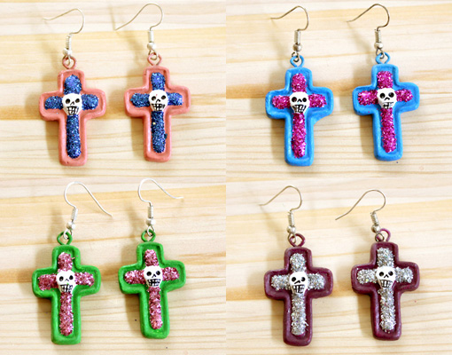 メキシコのガイコツの十字架ピアス