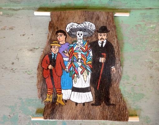メキシコ ガイコツの貴婦人カトリーナの壁飾り
