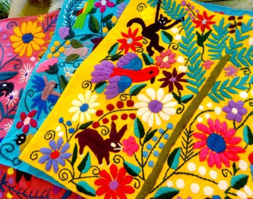メキシコのカラフルアニマルクッションカバー