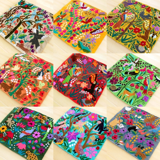 メキシコの鳥や動物、お花の刺繍クッション