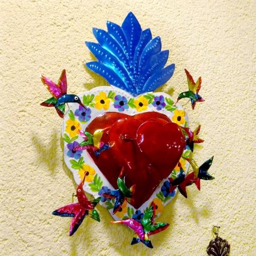 メキシコのブリキのハチドリとハート飾り[Pick Up]