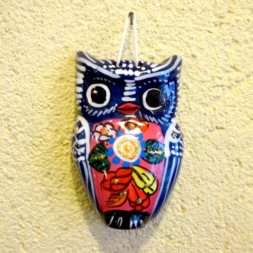 メキシコのフクロウ陶器壁飾り