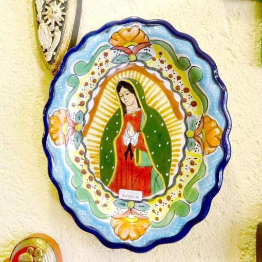 メキシコのマリア様のタラベラ焼き陶器絵皿