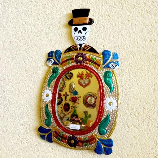 メキシコのガイコツミラー壁飾り