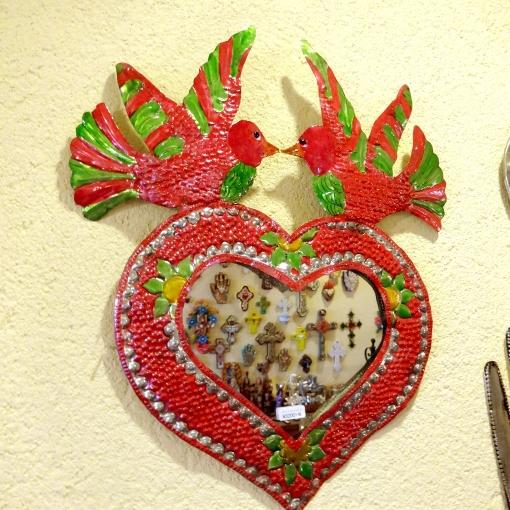 メキシコのハートと鳥のミラー壁飾り