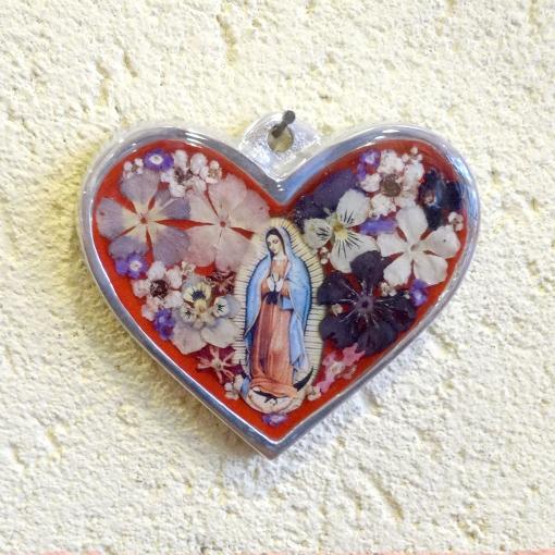 メキシコの生花とマリアのハート壁飾り