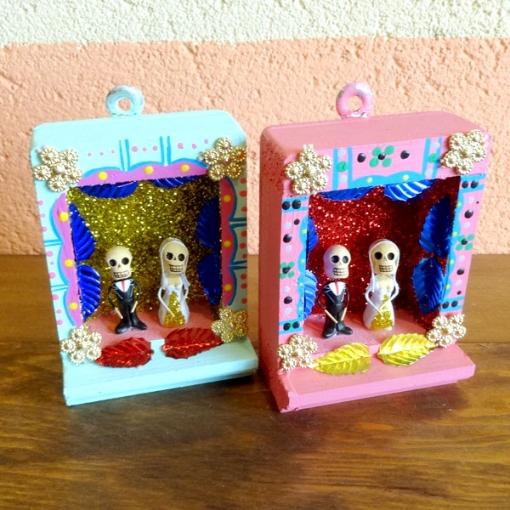 メキシコのガイコツカップルの祭壇