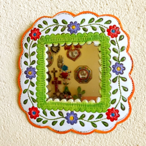 メキシコのお花のブリキミラー