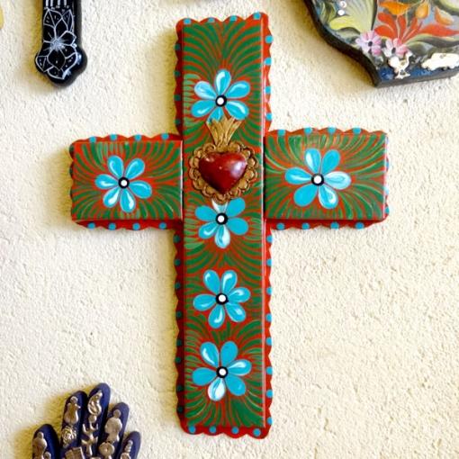 メキシコのブリキのペイント十字架大きめ