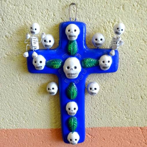 メキシコのガイコツの十字架と壁飾り[Pick Up]