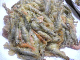 雑魚と川海老の天婦羅