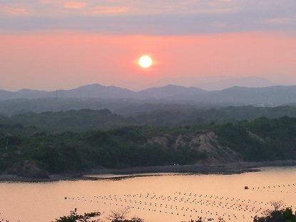 登茂山展望台からの夕日