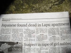 ラプラプ邦人殺害事件を報じる地元紙