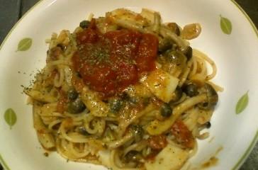 イカとシメジとトマトのスパゲティー