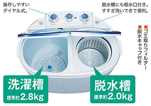 構造:2槽式小型洗濯機