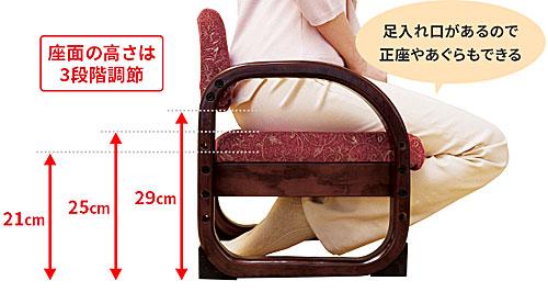 座面の高さ:思いやり座敷椅子