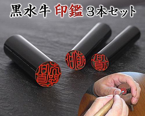 黒水牛印鑑3本セット