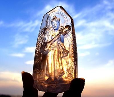 ヒマラヤ水晶彫刻 サラスバティ ミーアクリスタル