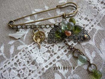 木の実と小鳥のストールピン(ボタン)