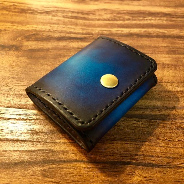 青い本革コインケース