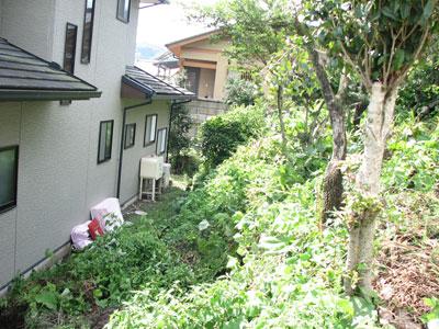 台風9号の傷跡:地滑りで隣家へ崩れ落ちた土砂
