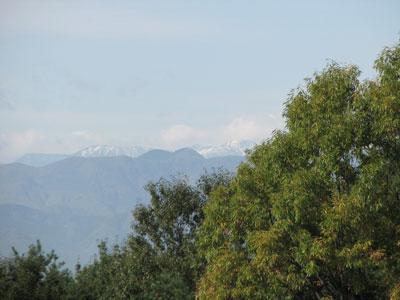 北アルプスの山々に雪を見る