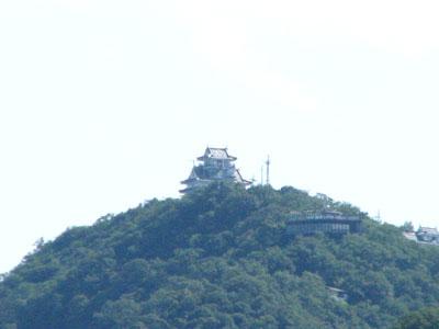 小高い山の上に岐阜城を望む