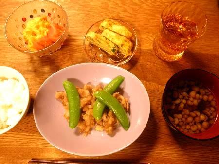 豚とスナップエンドウの塩炒め