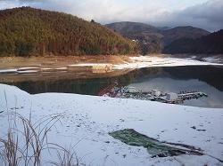 北山ダム 雪 ワカサギ釣り