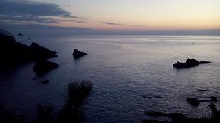 天草ツーリング・クルマエビと教会の島 天草下島西海岸の夕景