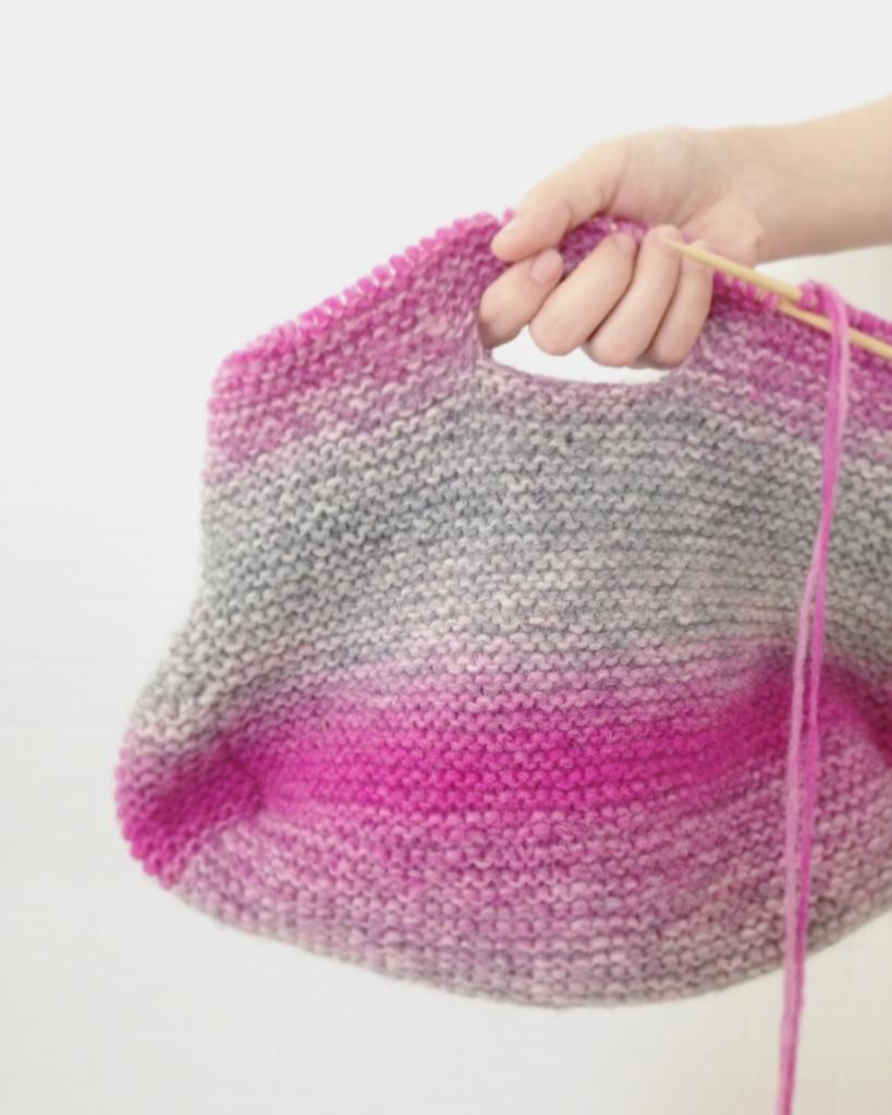 プレウールで編むバッグ