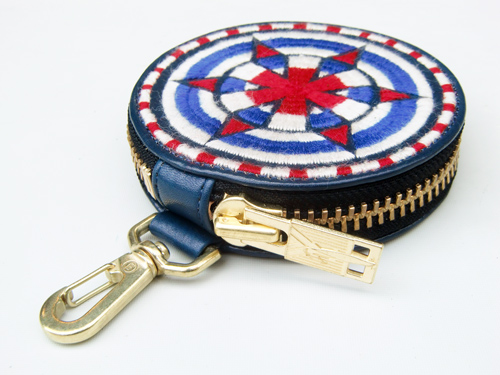 ■【blackmeans】70TAC13-3 EMBROIDERY CIRCLE POUCH/PURSE BLUE■