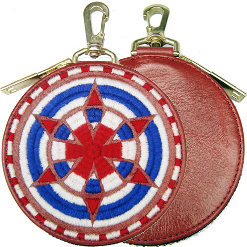 ■【blackmeans】70TAC13-3 EMBROIDERY CIRCLE POUCH/PURSE RED■
