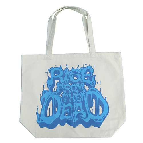 ■RISE FROM THE DEAD_LOGO TOTE BAG NATURAL / BLUE■