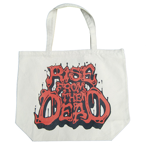 ■RISE FROM THE DEAD_LOGO TOTE BAG NATURAL / RED■