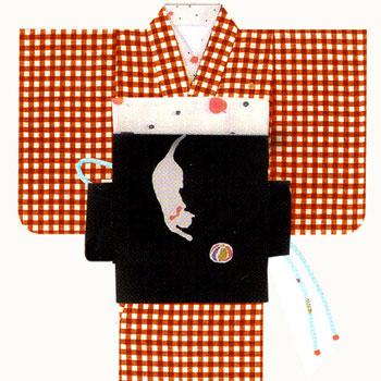 tsumori chisato(ツモリチサト)ギンガムチェックに刺繍入り洗える着物