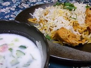 ハイデラバーディダムビリヤニ・野菜ライタ