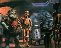 シゴト中のC-3PO、R2-D2
