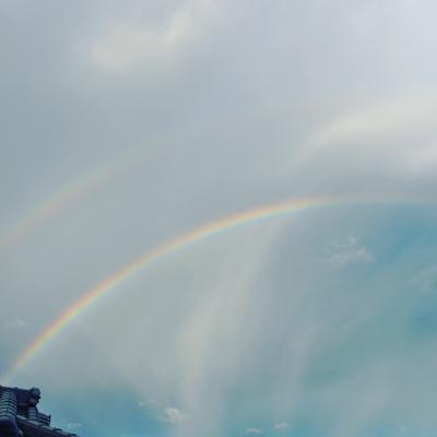 二重虹,虹,空,写真