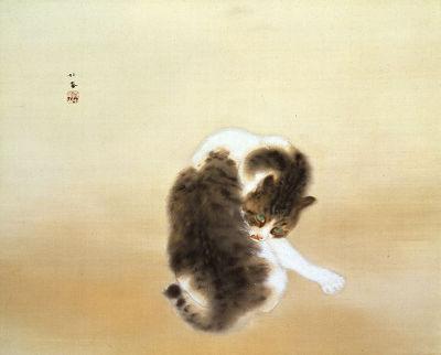 竹内栖鳳猫の絵